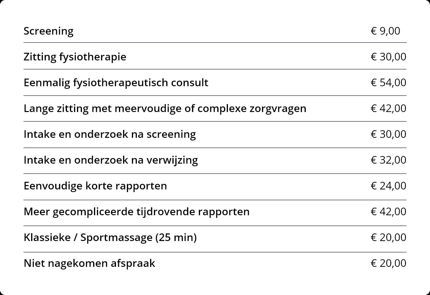 Tabel prijzen (mobiele versie)